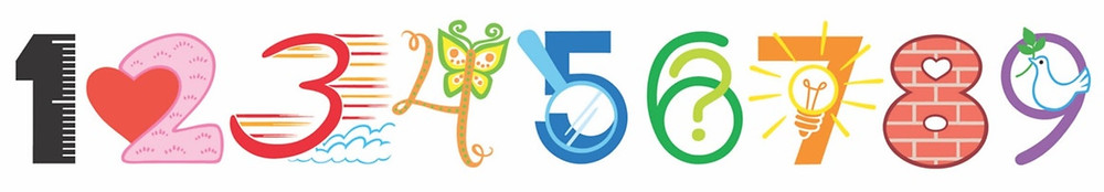 Numerot yhdestä yhdeksään vasemmalta oikealla vaakasuorassa erilaisin symbolein kuvitettuna.