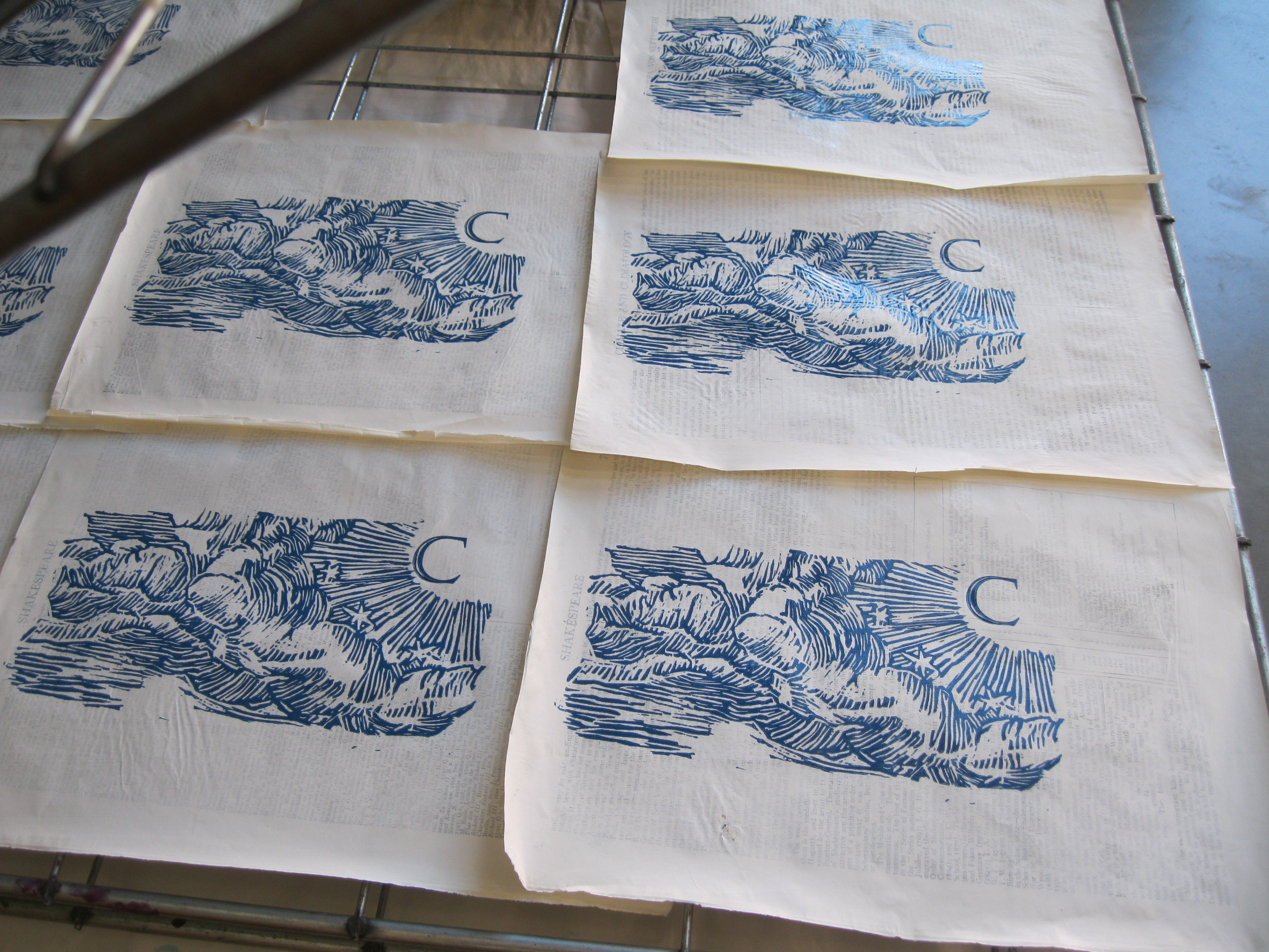 Drying Lino Block Prints