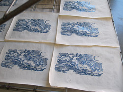 Drying Lino Block Prints