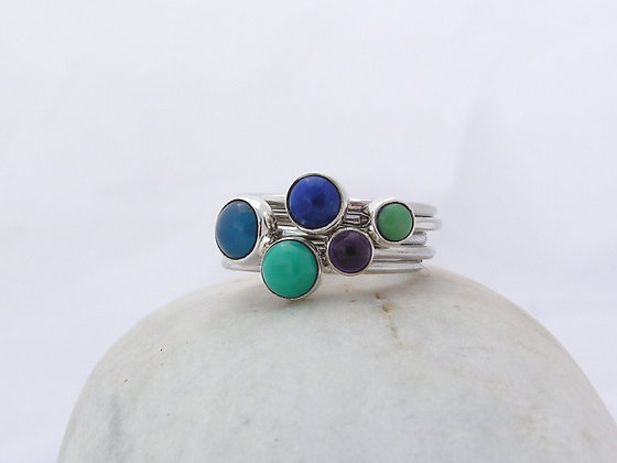 5 stones ring silver or gold