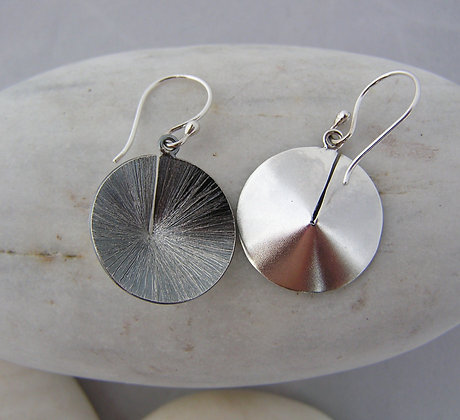 Cone earrings silver or oxidized silver