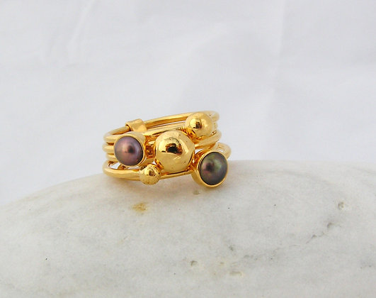 2 fresh water pearls ring silver or gold