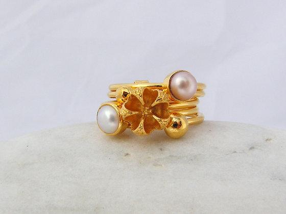 Manuka ring 2 fresh water pearls silver or gold