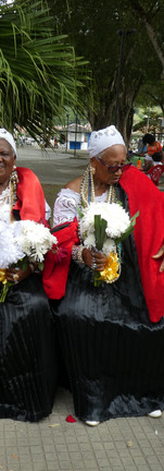 There are different outfits with different colors for each day of the festival, symbolizing stages of the good death.