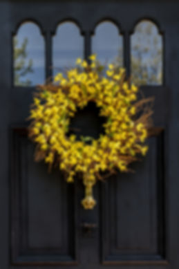 A springtime wreath made with twigs and