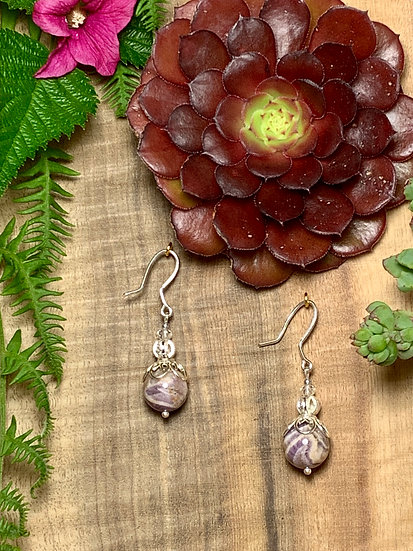 Marbled Amethyst earrings set in sterling silver