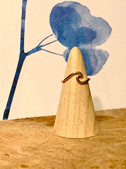 Gold over Sterling Silver Wave Ring