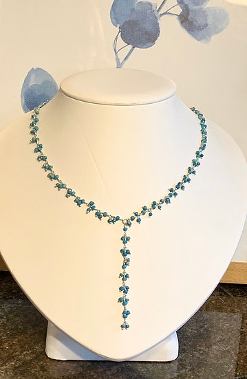 Rosary bead necklace in Silver and turquoise