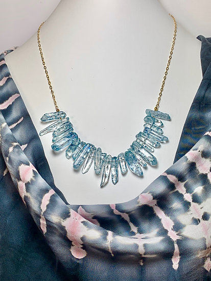 Blue Crystal Quartz Necklace on 14kt Gold chain