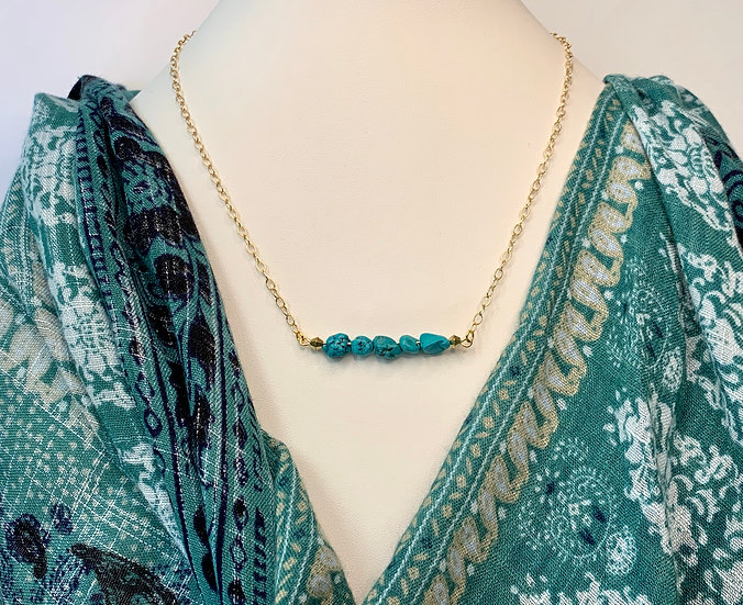 14kt Gold and Genuine Turquoise Necklace