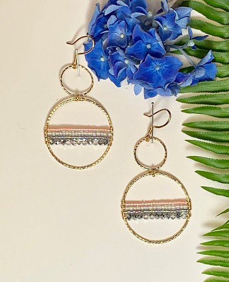 14kt Gold Earrings with beaded accents