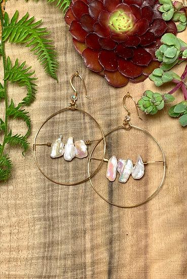 Cultured Pearl hoop Earrings
