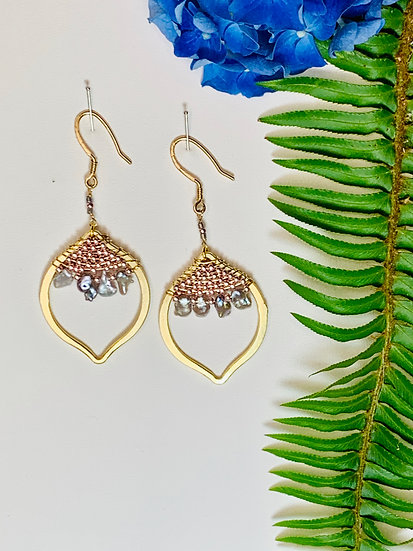 Gold earrings with beads and fresh water pearl accents