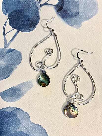 Silver earrings with Abalone