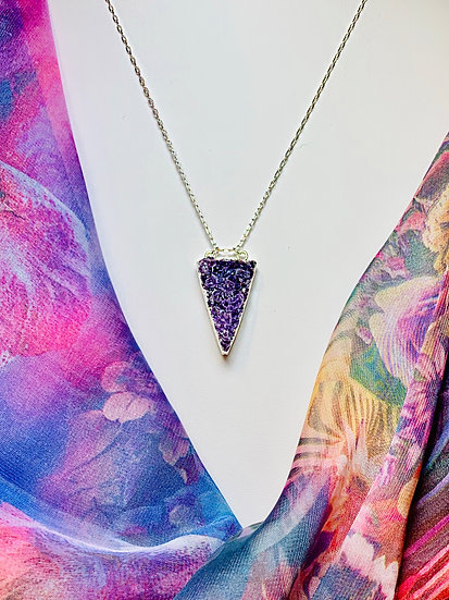 Druzy Crystal pendant on Silver chain