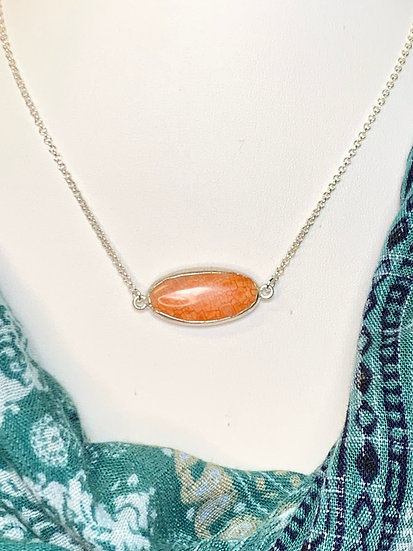 Silver necklace with stone accent