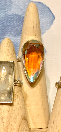 Sterling silver ring with brilliant stone