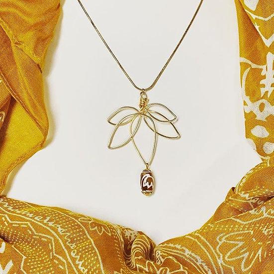 Lotus Flower with Tibetan Dzi Bead- 14Kt Gold Filled Chain