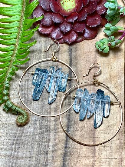 Blue Quartz Crystal Hoop Earrings