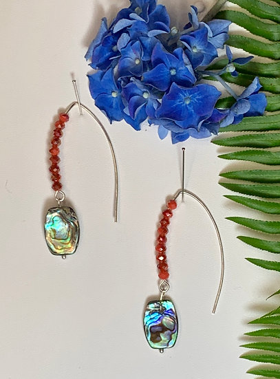Abalone shell earrings with beads