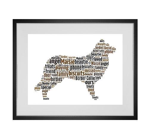 Border Collie, Personalised Word Art Gifts, Unique Keepsake gifts, Dog Word Art, Dog Lover, pet prints, pet memorials,