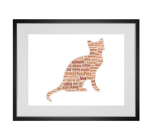 Crazy cat lady, Personalised Word Art Gifts, Unique Keepsake gifts, Cat Word Art, Cat Lover, pet prints, pet memorials,