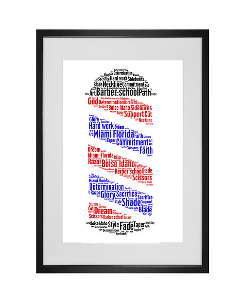 Personalised Word Art Gifts, Unique Keepsake gifts, Gifts for her, Gifts for him, Barber shop pole Art, Hairdressers Art,