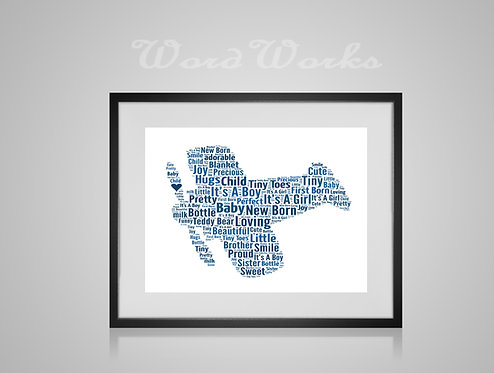 Personalised Word Art Gifts, Unique Keepsake gifts, New Born gift, New Borns room decor, Aeroplane print, gifts for kids