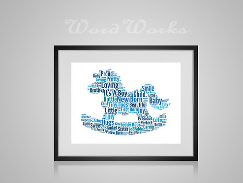 Personalised Word Art Gifts, Unique Keepsake gifts, New Born gift, Nursery decor, rocking horse word art, gifts for kids