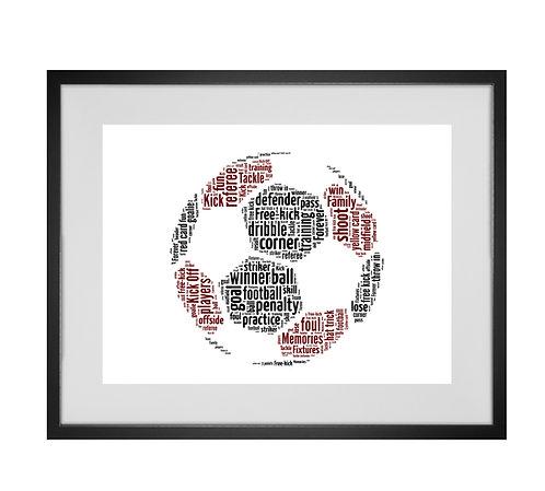 Personalised Football Word Art Gifts, Unique Keepsake gifts, Gifts for him, sports gifts, gifts for kids, Footy Fan Art