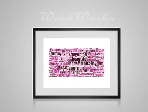 Personalised Word Art Print Gifts, Unique Keepsake gifts, Mothers Day gift, gifts for mum mummy, word cloud, Custom made