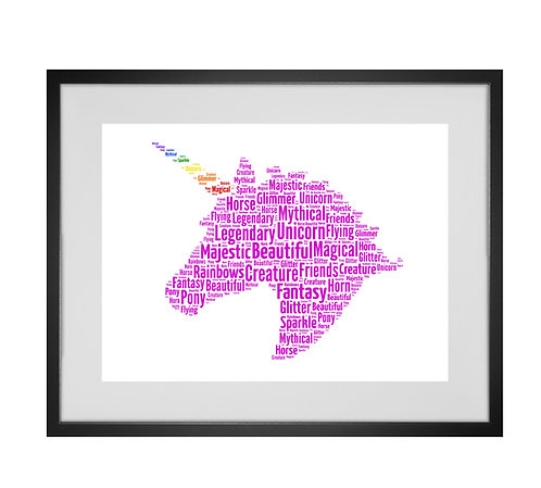 Unicorn Personalised Word Art Gifts, Unique Keepsake gifts, magical creatures, Rainbows Art, Gifts for girls, Unicorn lover
