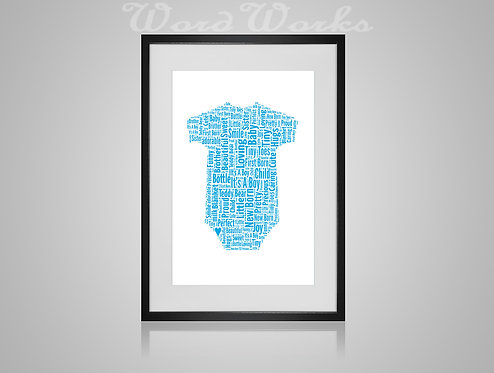 Personalised Word Art Gifts, Unique Keepsake gifts, New Born gift, New Borns room decor, baby boy babygrow, gifts for kids