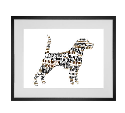 Beagle, Personalised Word Art Gifts, Unique Keepsake gifts, Dog Word Art, Dog Lover, pet prints, pet memorials