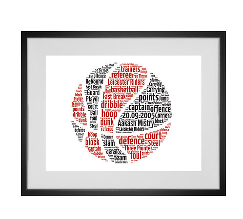 Basketball fan gift Personalised Word Art Gifts, Unique Keepsake gifts, Gifts for him, sports gifts,