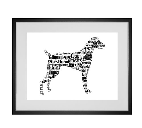 Weimaraner Personalised Word Art Gifts, Unique Keepsake gifts, Dog Word Art, Dog Lover, pet prints, pet memorials,