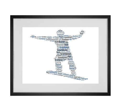 Personalised Word Art Gifts, Unique Keepsake gifts, sports gifts, Winter Sports, Snowboard  snowboarder Print design