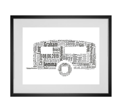 Personalised Word Art Gifts, Unique Keepsake gifts,  Gifts for her, Gifts for him, father's Day, Caravan art, campervan print