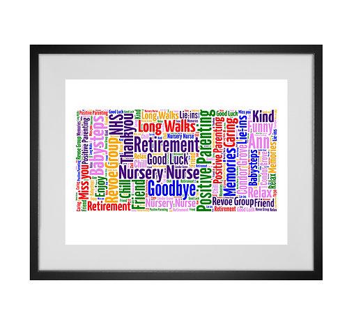 Personalised Word Art Gifts, Unique Keepsake gifts,  Gifts for her, Gifts for him, Retirement Gifts, work leaver gifts
