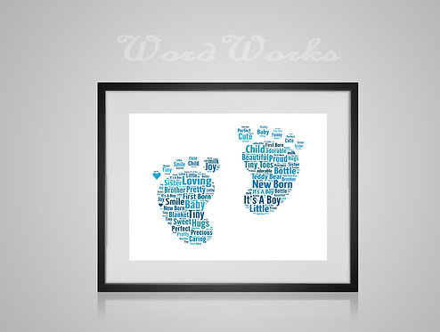 Personalised Word Art Gifts, Unique Keepsake gifts, New Born gift, Nursery decor, baby boy footprint, gifts for kids