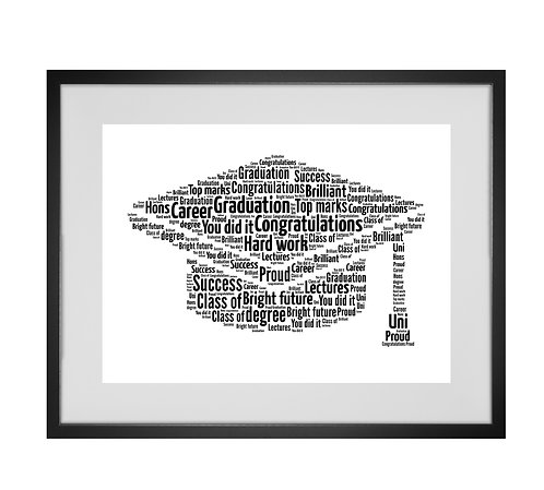 Personalised Word Art Gifts, Unique Keepsake gifts, personalised Letter Art, Word Cloud print, Graduation Present, Uni Leaver