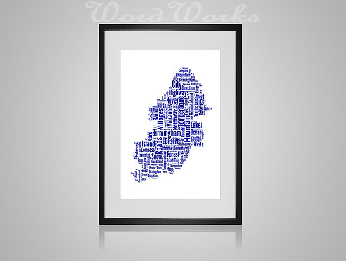 Personalised Word Art Gifts, Unique Keepsake gifts,  Gifts for her, Gifts for him, Map prints, hometown print, Birmingham Map