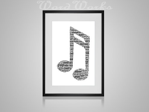 Personalised Word Art Gifts, Unique Keepsake gifts, Musical note print, musician art, Double Quaver, Treble clef, music print