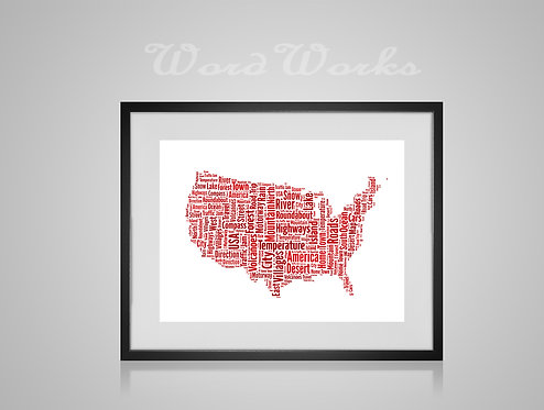 Personalised Word Art Gifts, Unique Keepsake gifts,  Gifts for her, Gifts for him, Map prints, hometown print, USA Map
