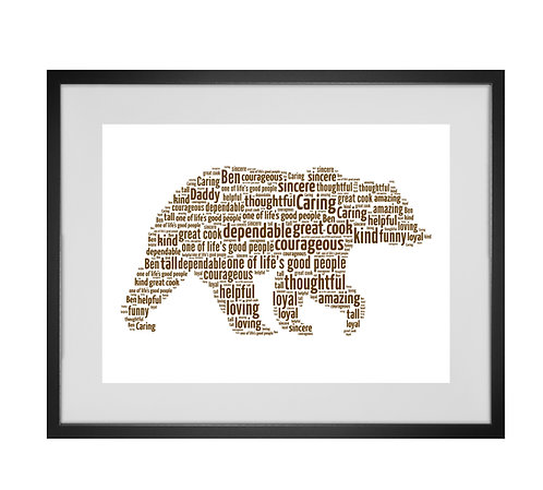 Personalised Word Art Gifts, Unique Keepsake gifts, Wildlife art, Bear prints, Fathers Day Gifts, Hipster Dad Daddy presents,