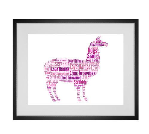 Llama Personalised Word Art Gifts, Unique Keepsake gifts, Alpaca print, pet prints, animal lover, Llama lover, Llama art