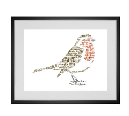 Robin Personalised Word Art Gifts, Unique Keepsake gifts, woodland animal theme, Christmas robin gifts, Xmas presents