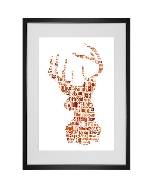 Personalised Word Art Gifts, Unique Keepsake gifts, Wildlife art, Stag prints, Fathers Day Gifts, Hipster Dad Daddy presents,