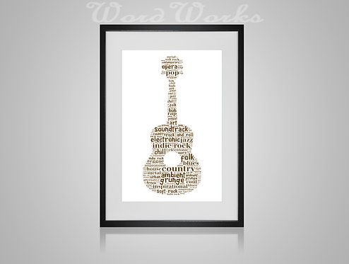 Personalised Word Art Gifts, Unique Keepsake gifts, Musical note print, musician art, Acoustic Guitar player, music print