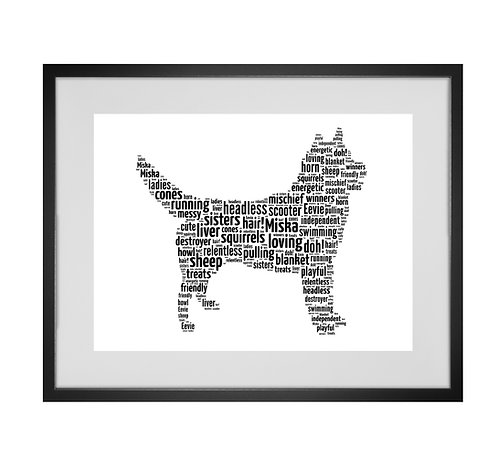 Husky, Personalised Word Art Gifts, Unique Keepsake gifts, Dog Word Art, Dog Lover, pet prints, pet memorials,